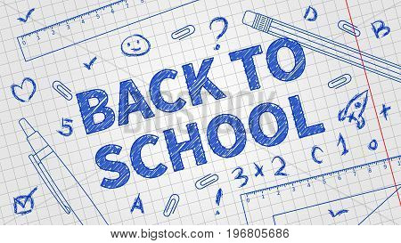 Back to school vector illustration. Line art banner Back to school with different elements: pencil pen ruler staple and exercise book background. Graphic design template.