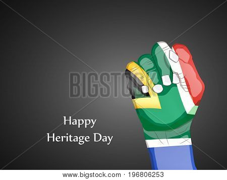 illustration of hand in south Africa flag background with Happy Heritage Day text on the occasion of Heritage Day