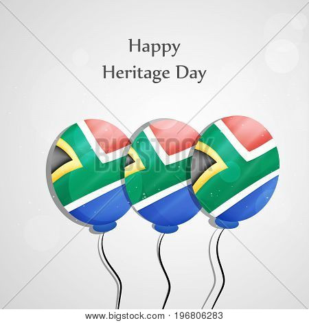 illustration of balloons in south Africa flag background with Happy Heritage Day text on the occasion of Heritage Day