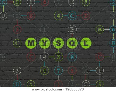 Software concept: Painted green text MySQL on Black Brick wall background with Hexadecimal Code