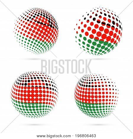 Malawi Halftone Flag Set Patriotic Vector Design. 3D Halftone Sphere In Malawi National Flag Colors