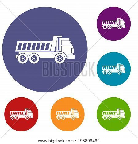 Dumper truck icons set in flat circle red, blue and green color for web