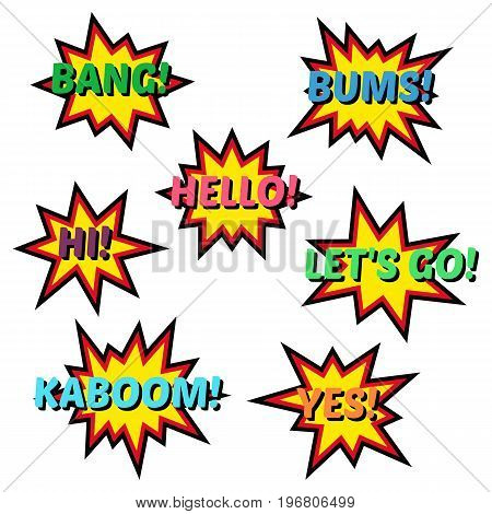 Set of cartoon comic balloon speach bubbles. Elements of pop art retro style design comic books. Vector illustration