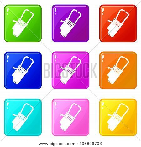 Welding equipment icons of 9 color set isolated vector illustration