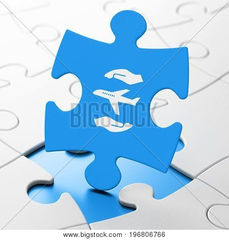 Insurance concept: Airplane And Palm on Blue puzzle pieces background, 3D rendering