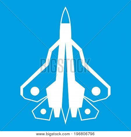 Military fighter plane icon white isolated on blue background vector illustration