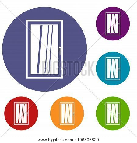 Closed white window icons set in flat circle red, blue and green color for web