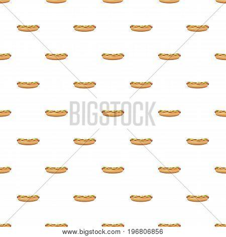Hotdog pattern seamless repeat in cartoon style vector illustration