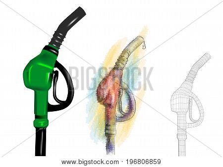 petrol pump. set of pumps on white background