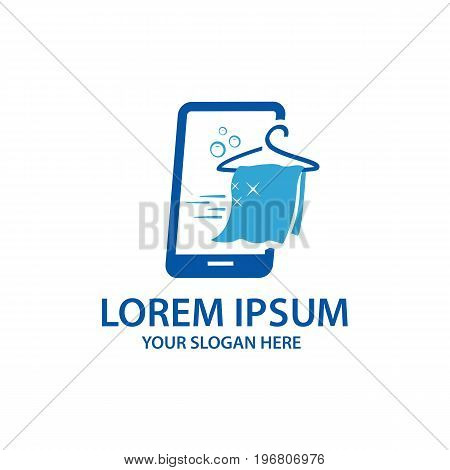 smart phone with cloth and cloth hanger with speed motion, logo design, isolated on white background.