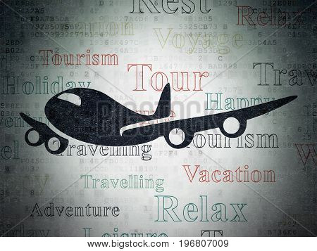 Vacation concept: Painted black Airplane icon on Digital Data Paper background with  Tag Cloud