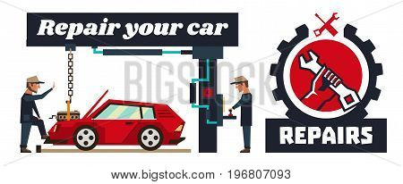Horizontal banner template on car repairs. Logo, hand holding a wrench. Auto mechanic removed engine. Capital repair of the motor. Special equipment. Red car. Vector illustration