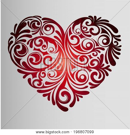 Red gradient heart ornament Polynesia. Youth, creative idea for tattoo