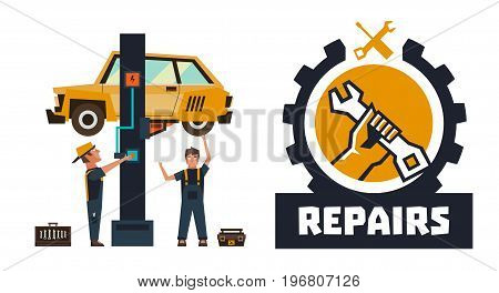 Horizontal banner template on car repairs. Repair logo, hand holding a wrench. The car on a lift. Auto mechanic inspects the undercarriage of the car. Vector illustration. Flat style.