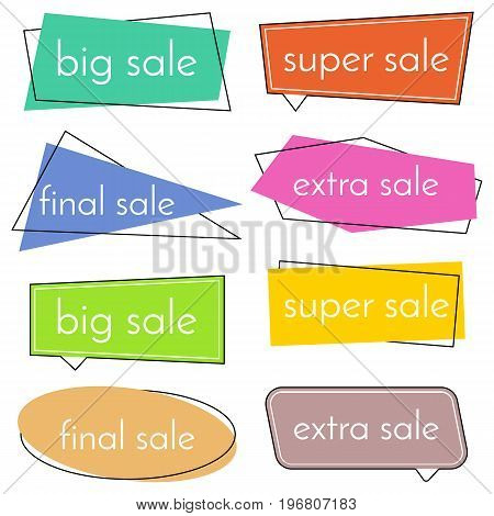 Set of eight sale vector bannes with colorful design elements. Vector illustration.