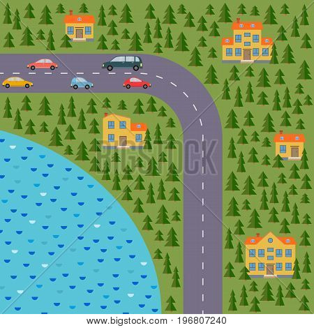 Plan of village. Landscape with the road coniferous forest lake cars and houses. Vector illustration