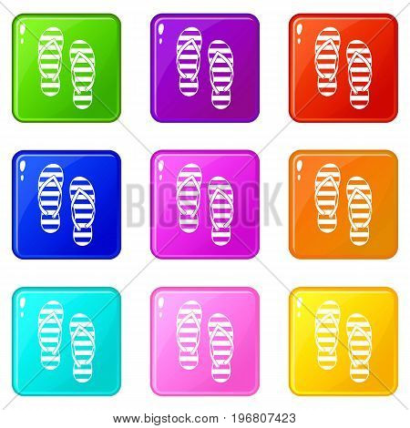 Flip flop icons of 9 color set isolated vector illustration