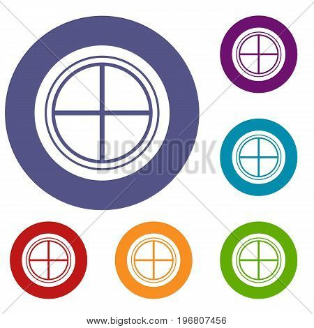 White round window icons set in flat circle red, blue and green color for web