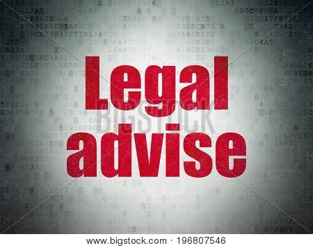 Law concept: Painted red word Legal Advise on Digital Data Paper background