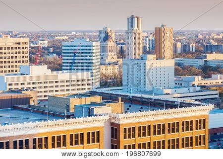 Skyline of Winnipeg with Manitoba Legislative Building. Winnipeg Manitoba Canada