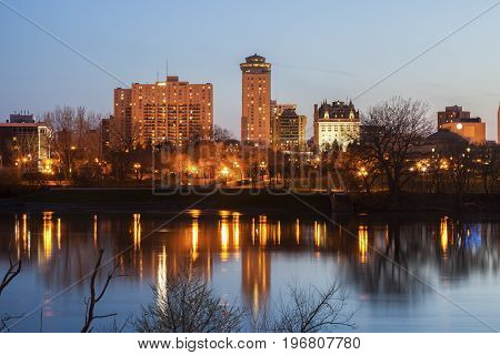 Skyline of Winnipeg at evening. Winnipeg Manitoba Canada.