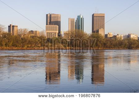 Skyline of Winnipeg at sunrise. Winnipeg Manitoba Canada