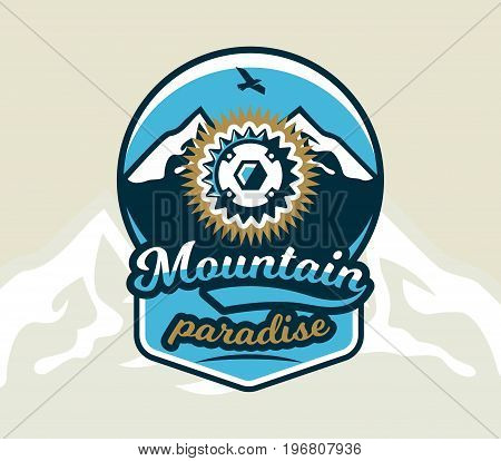 Logo bicycle sprocket. The emblem of the spare parts bike and mountain views. Extreme sport. Freeride, downhill, cross-country. Badges shield, lettering. Vector illustration.
