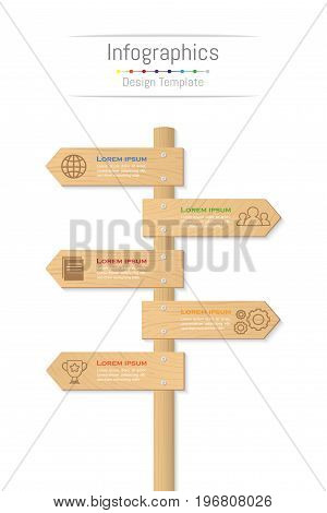 Infographic design elements for your business data with 5 options parts steps timelines or processes. Wood sign concept Vector Illustration.