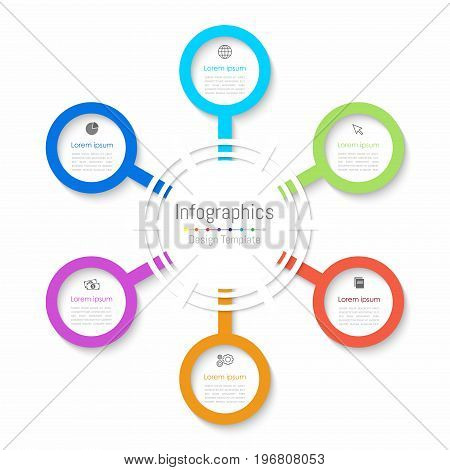 Infographic design elements for your business data with 6 options parts steps timelines or processes. Paper style Vector Illustration.