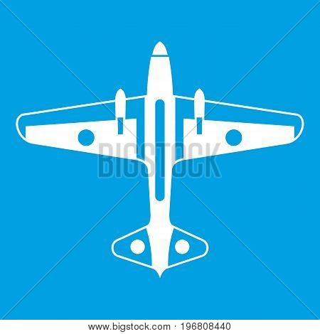 Military aircraft icon white isolated on blue background vector illustration
