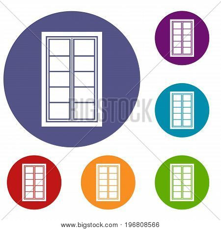 Wooden latticed window icons set in flat circle red, blue and green color for web
