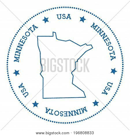 Minnesota Vector Map Sticker. Hipster And Retro Style Badge With Minnesota Map. Minimalistic Insigni
