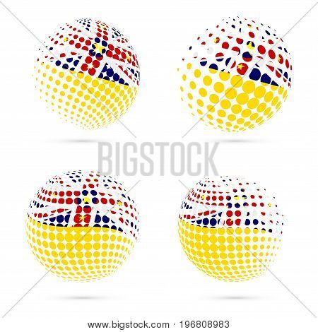 Niue Halftone Flag Set Patriotic Vector Design. 3D Halftone Sphere In Niue National Flag Colors Isol