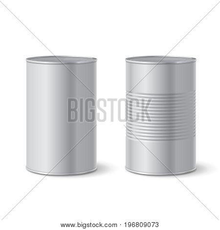 Metallic blank tin can isolated. Vector illustration.