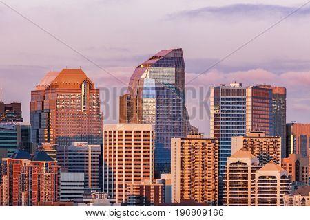 Calgary - panorama of city at sunset. Calgary Alberta Canada.