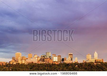 The Rainbow over Edmonton. Edmonton Alberta Canada.