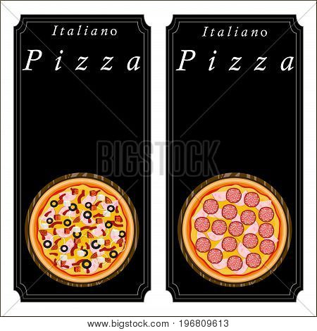 Vector logo illustration pizzeria menu, sliced triangle, whole hot pizza slice.