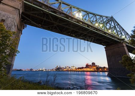 Jacques Cartier Bridge and skyline of Montreal. Montreal Quebed Canada.