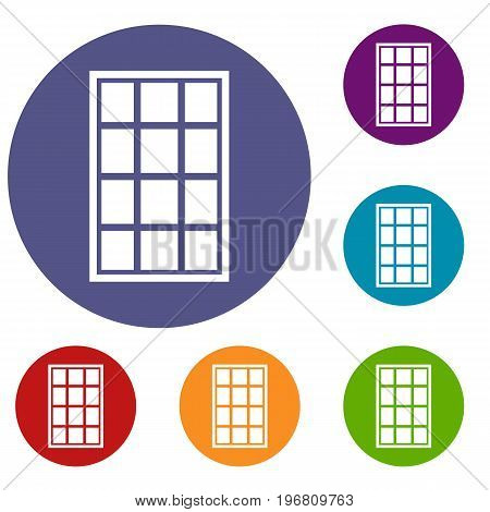 White arched window icons set in flat circle red, blue and green color for web