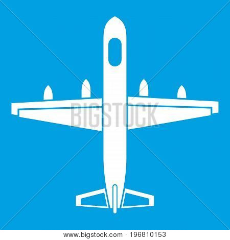 Military plane icon white isolated on blue background vector illustration