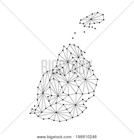 Mauritius map of polygonal mosaic lines network rays and dots vector illustration.