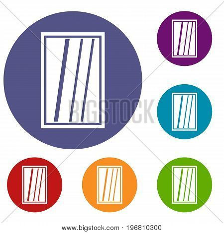 White rectangle window icons set in flat circle red, blue and green color for web