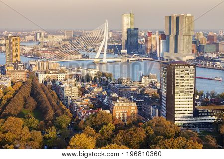 Aerial panorama of Rotterdam. Rotterdam South Holland Netherlands.