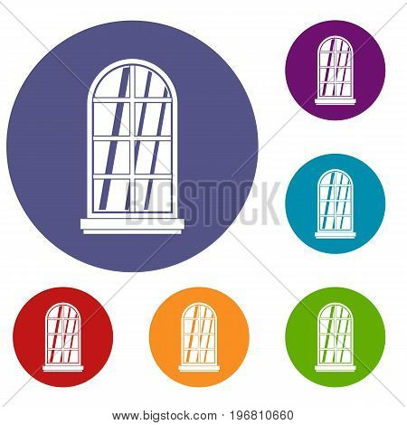 White window frame icons set in flat circle red, blue and green color for web