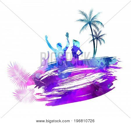 Abstract painted splash shape with silhouettes. Travel concept - partying people, palm trees. Multicolored. Vector illustration.