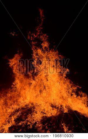 close up hot fire burning in night garden