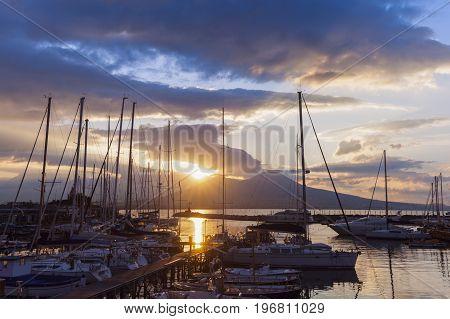 Sun rising above Vesuvius in Naples. Naples Campania Italy.