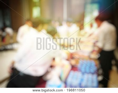 Abstract Blur Image Of Lunch Break Education People And Student In Line Wait For Food Meals. Vintage