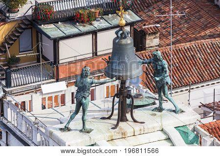 Bell on the top on St Mark's Clocktower. Venice Veneto Italy.
