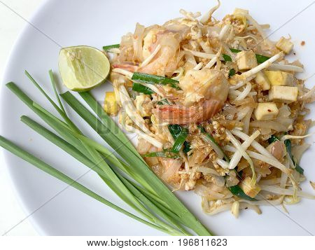 Pad Thai, Stir-fried Rice Noodles With Shrimp. The One Of Thailand's National Main Dish. The Popular
